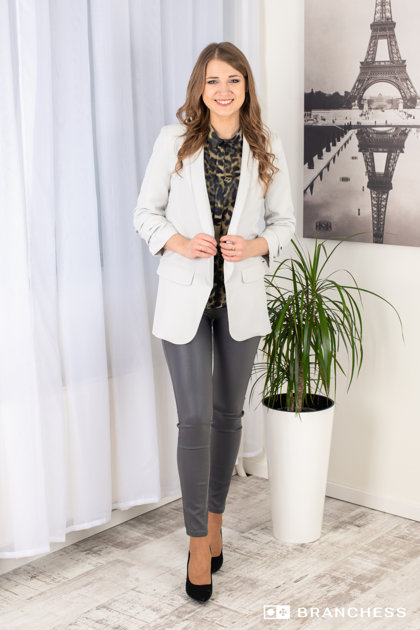 light gray jacket